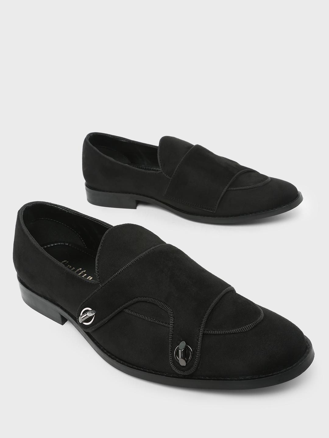 Griffin Black Double Buckle Strap Slip on Loafers 1