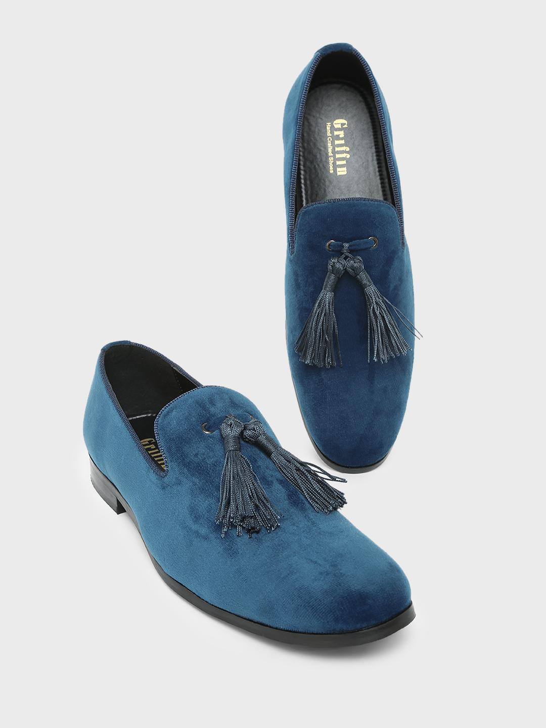 Griffin Navy Long Tassel Loafers 1