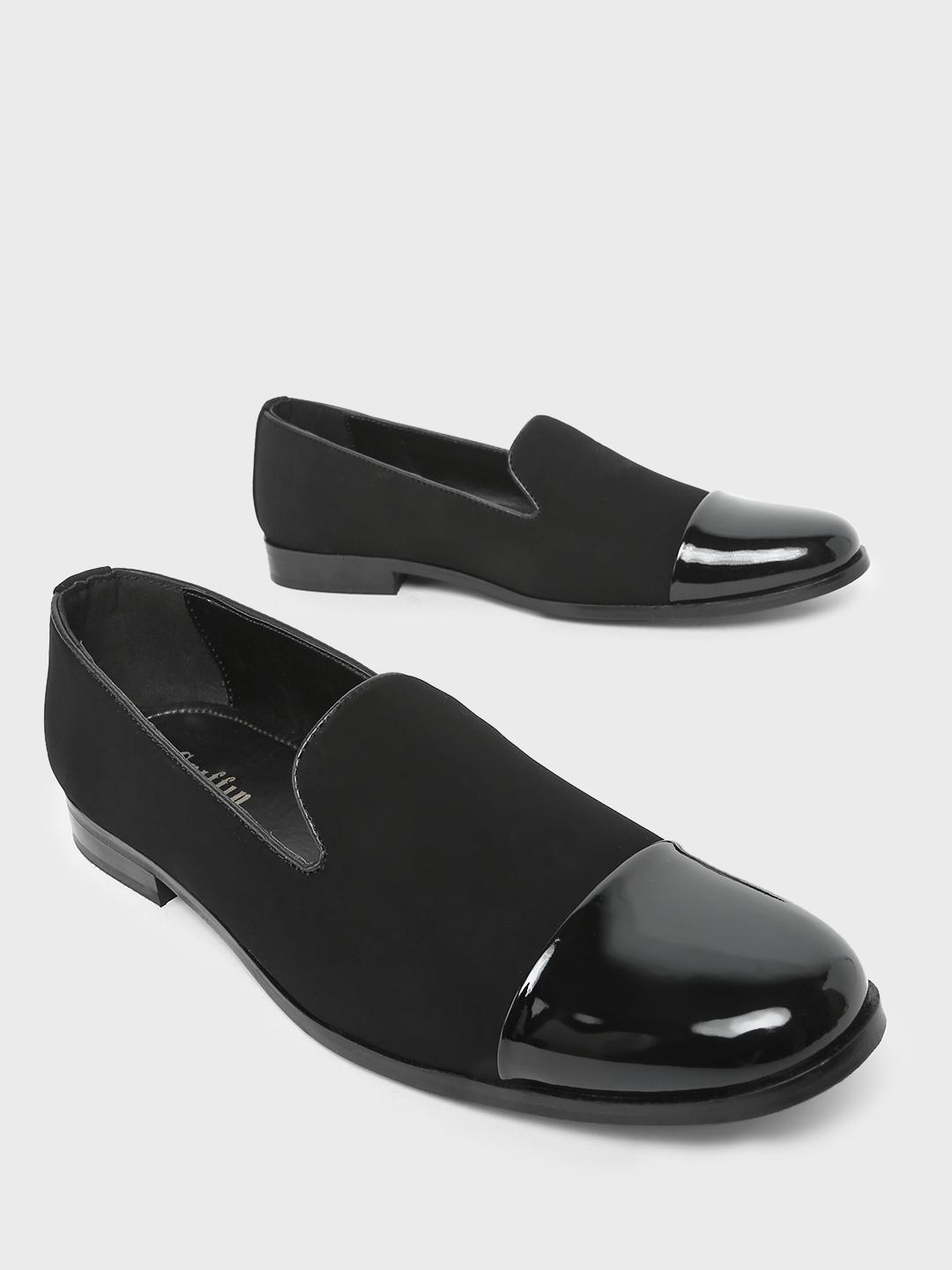 Griffin Black Patent Toe Cap Loafers 1