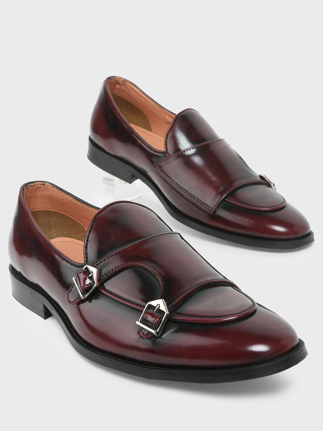 Griffin Wine Monk Strap Loafers 1