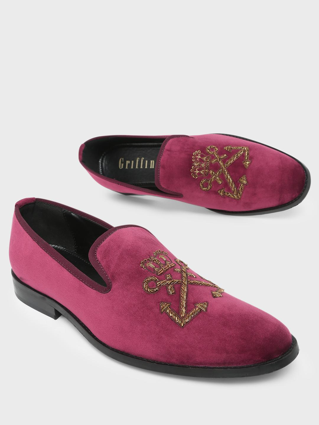 Griffin Maroon Embroidery Casual Loafers 1