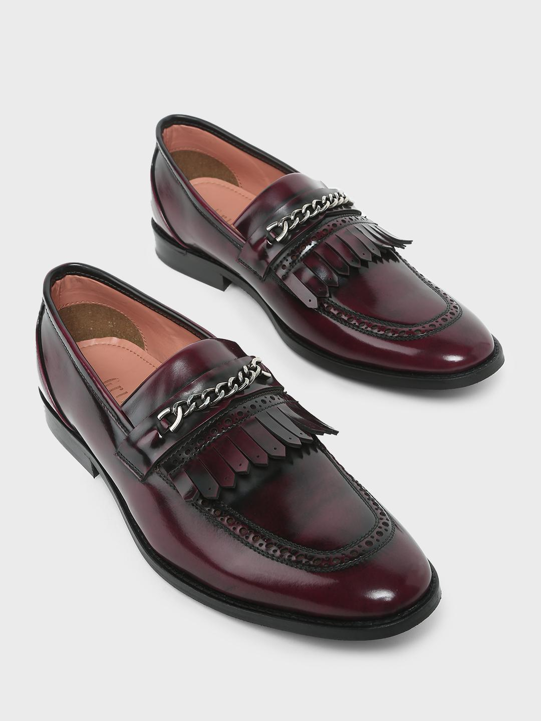 Griffin Wine Loafers with Fringes 1