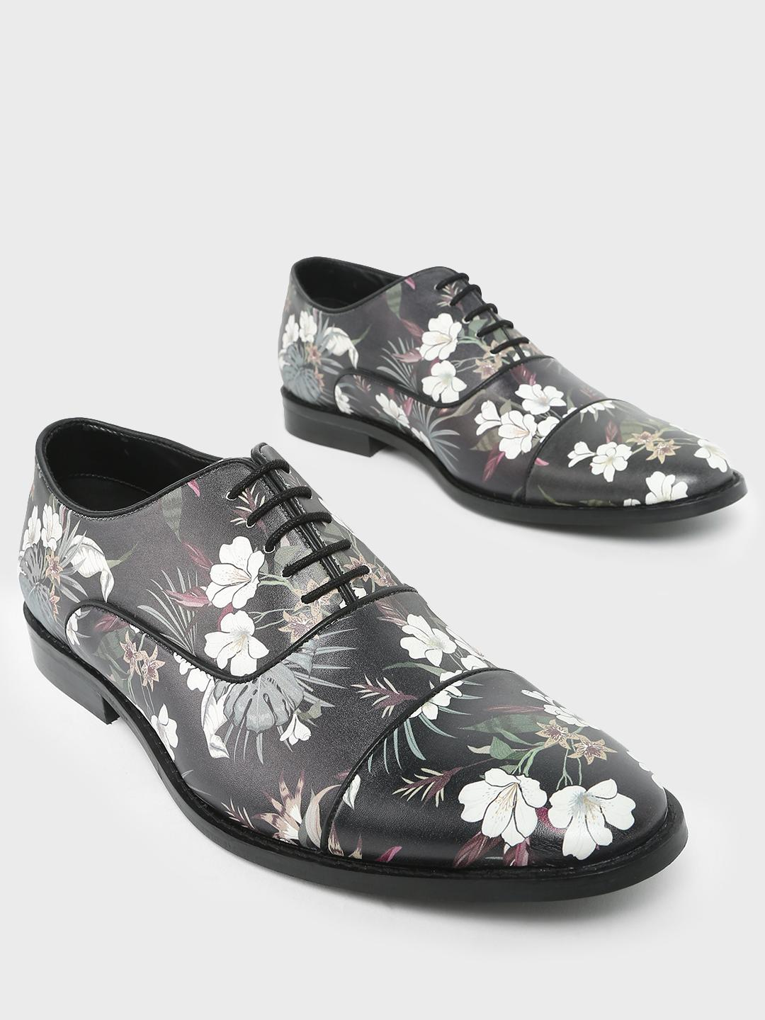 KOOVS Multi Floral Printed Formal Shoes 1