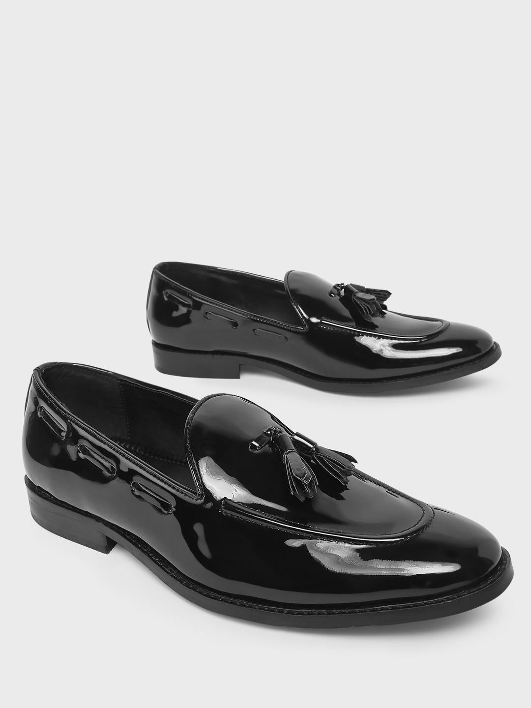 Griffin Black Patent Tassel Trim Boat Loafers 1