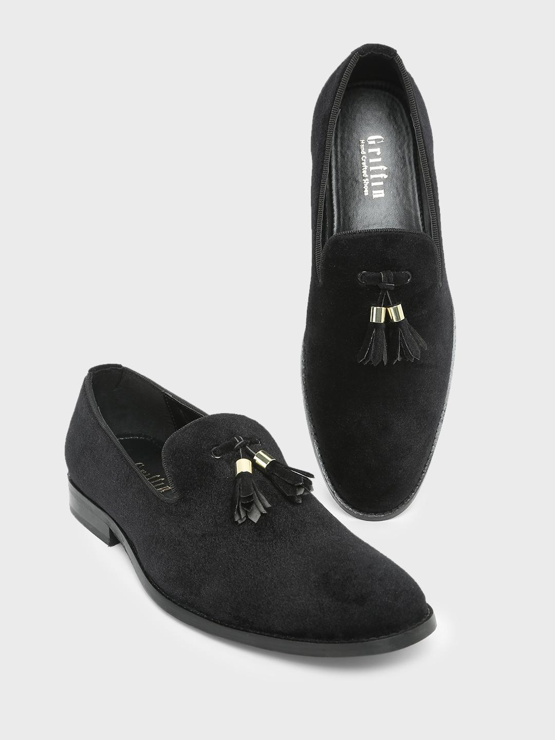 Griffin Black Tassel Trim Detail Slip on Loafers 1
