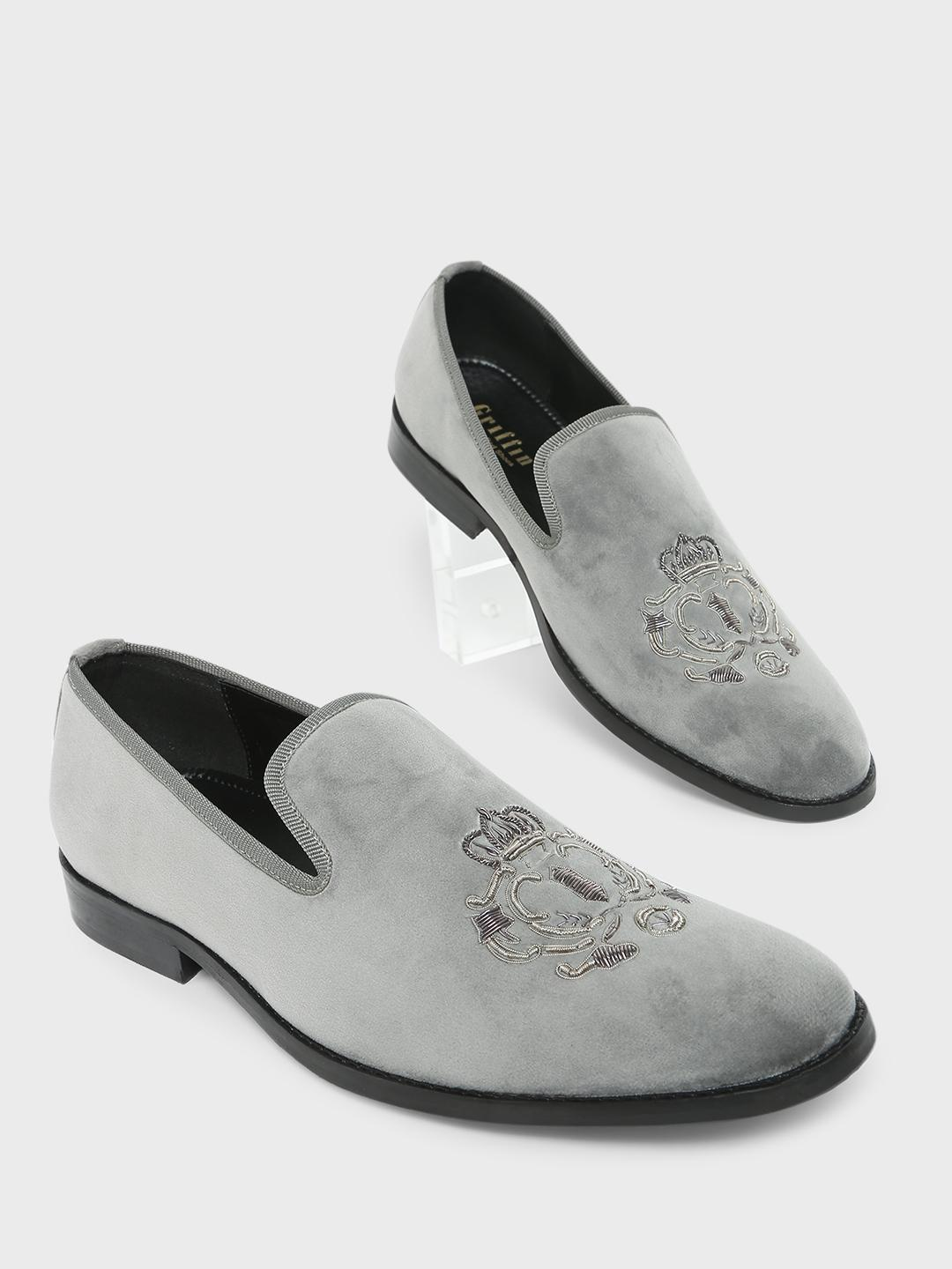 Griffin Grey Loafers with Zardozi Embroidery 1