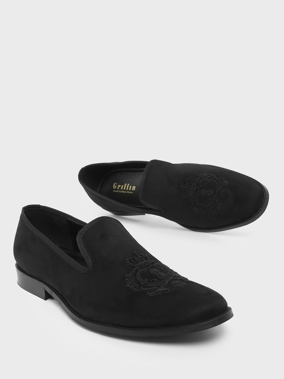 Griffin Black Loafers with Zardozi Embroidery 1