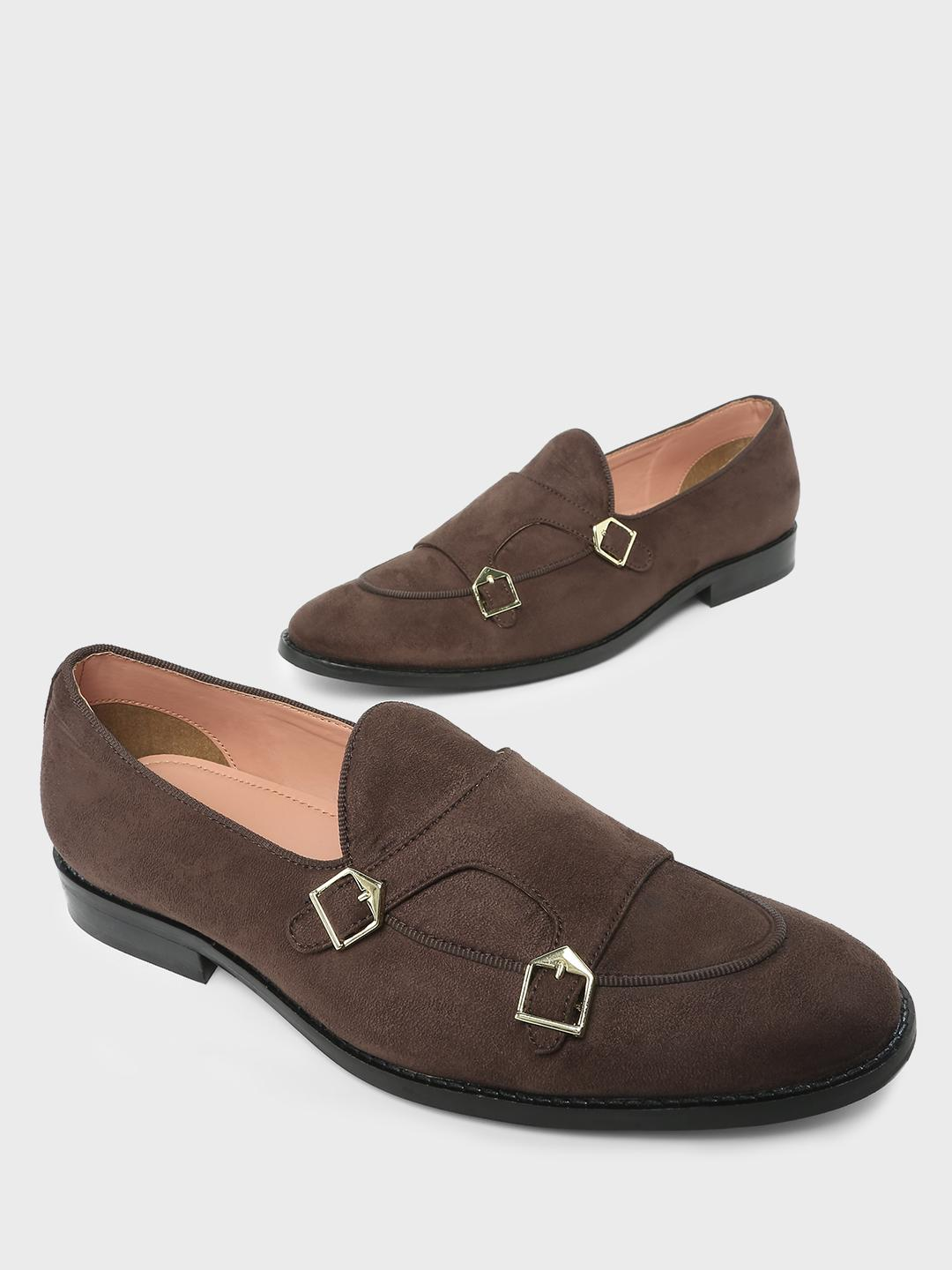 Griffin Brown Double Buckle Strap Slip on Loafers 1
