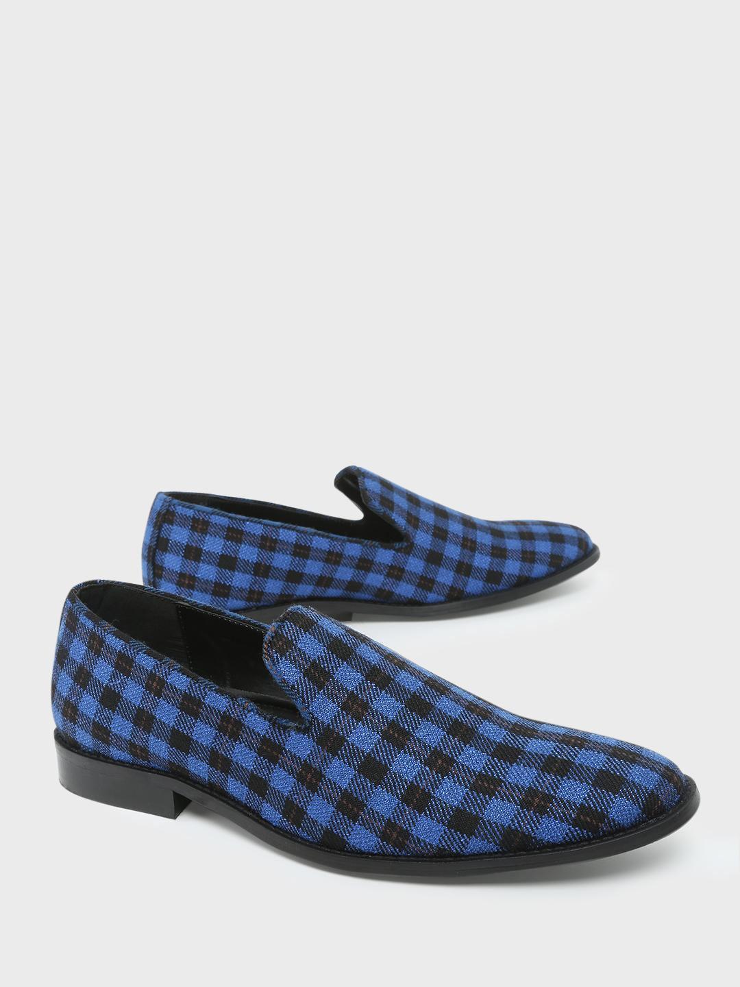 Griffin BLUE/BLACK Checked Loafers 1