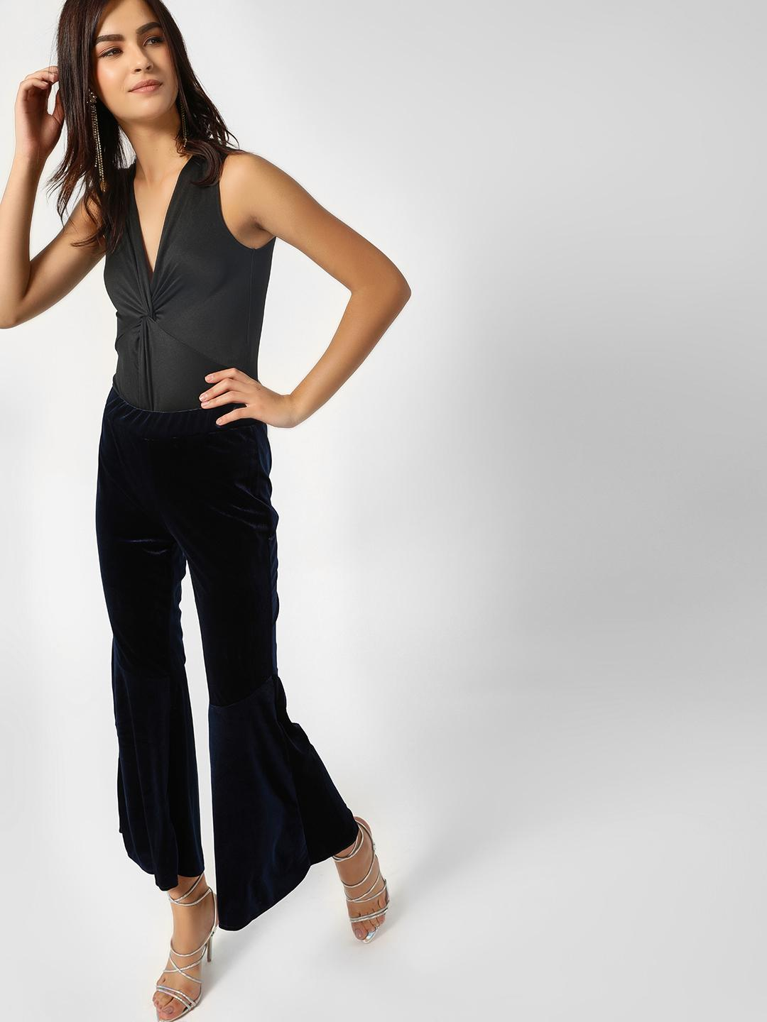 Moguland Blue Velvet Flared Trousers 1