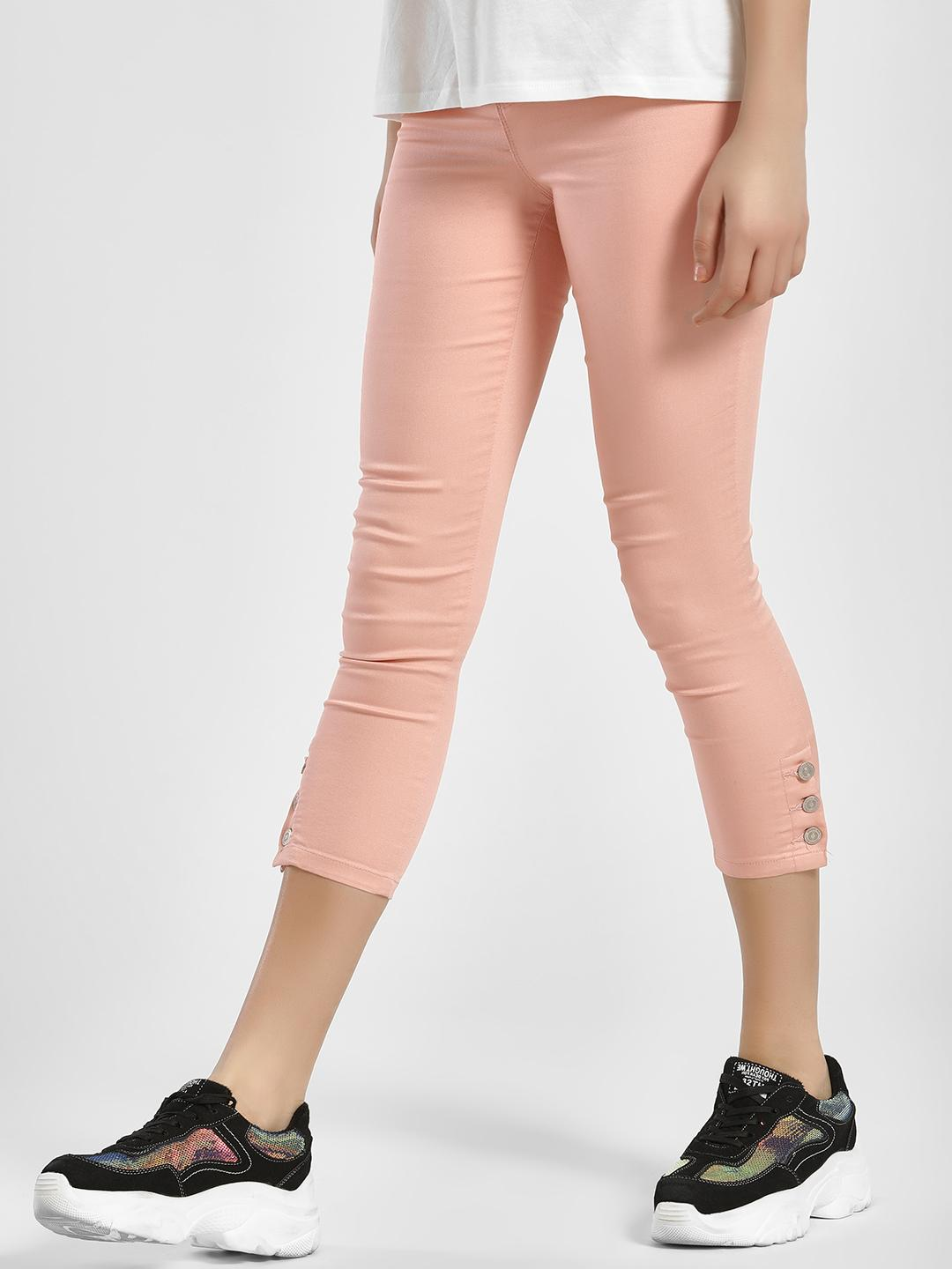 LC Waikiki Pink Side Button Cropped Skinny Trousers 1