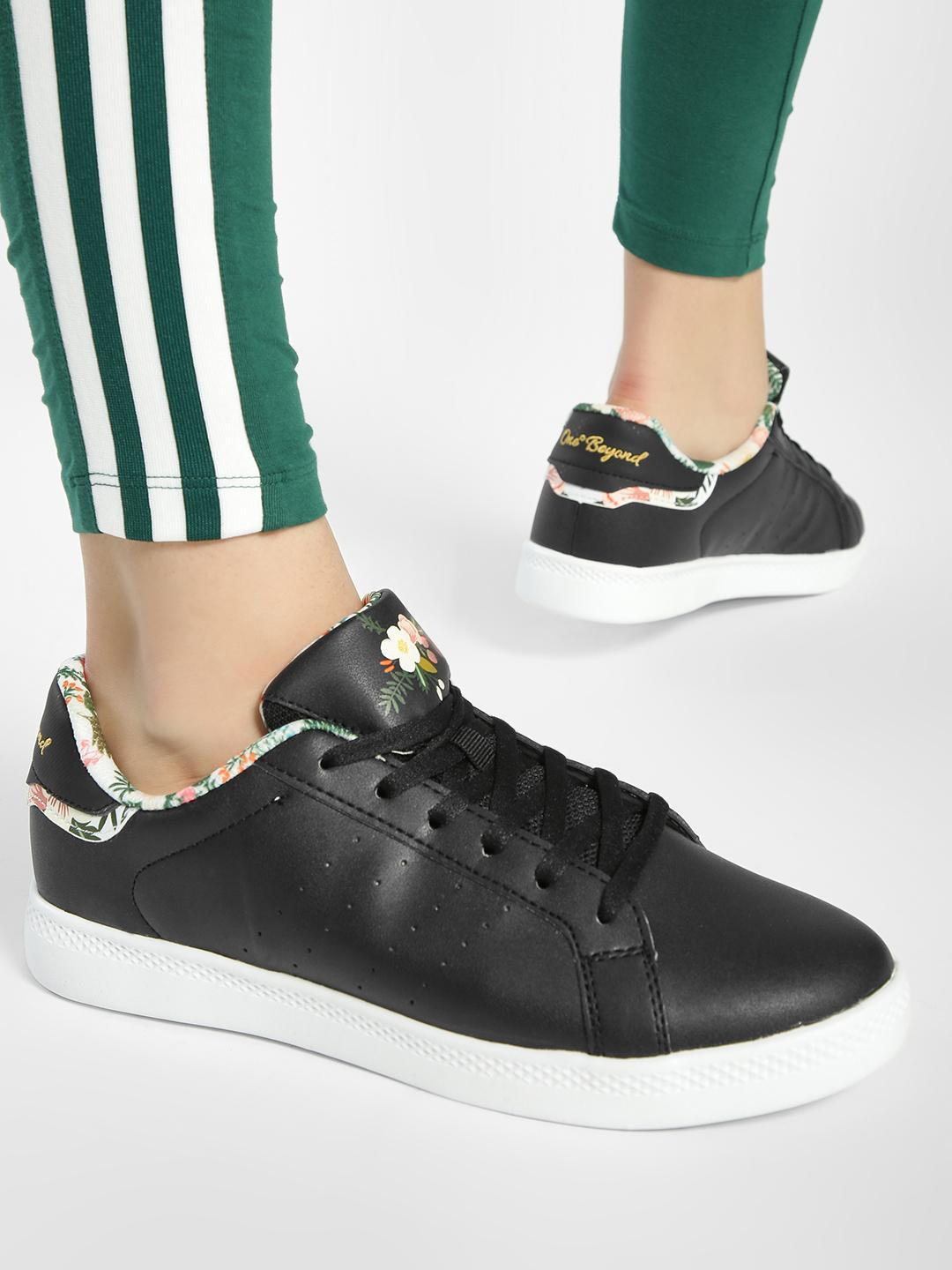 361 Degree Black Floral Printed Piping Sneakers 1