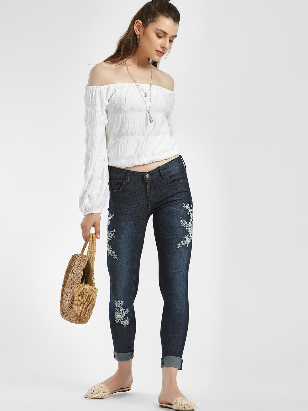 ISU Navy Floral Embroidered Cropped Skinny Jeans 1