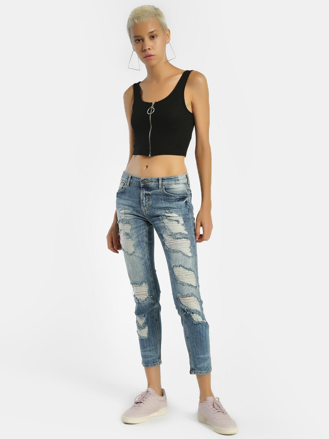 Privy League Blue Ripped Light Wash Skinny Jeans 1