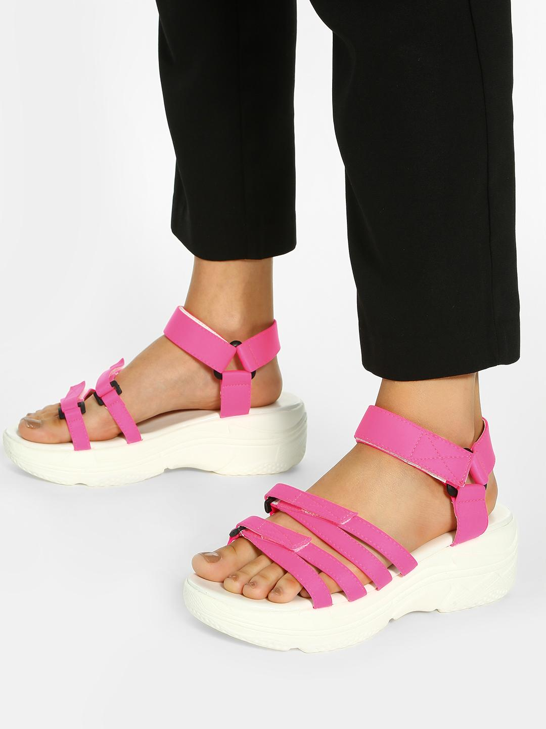 KOOVS Pink Contrast Strap Chunky Sole Sandals 1