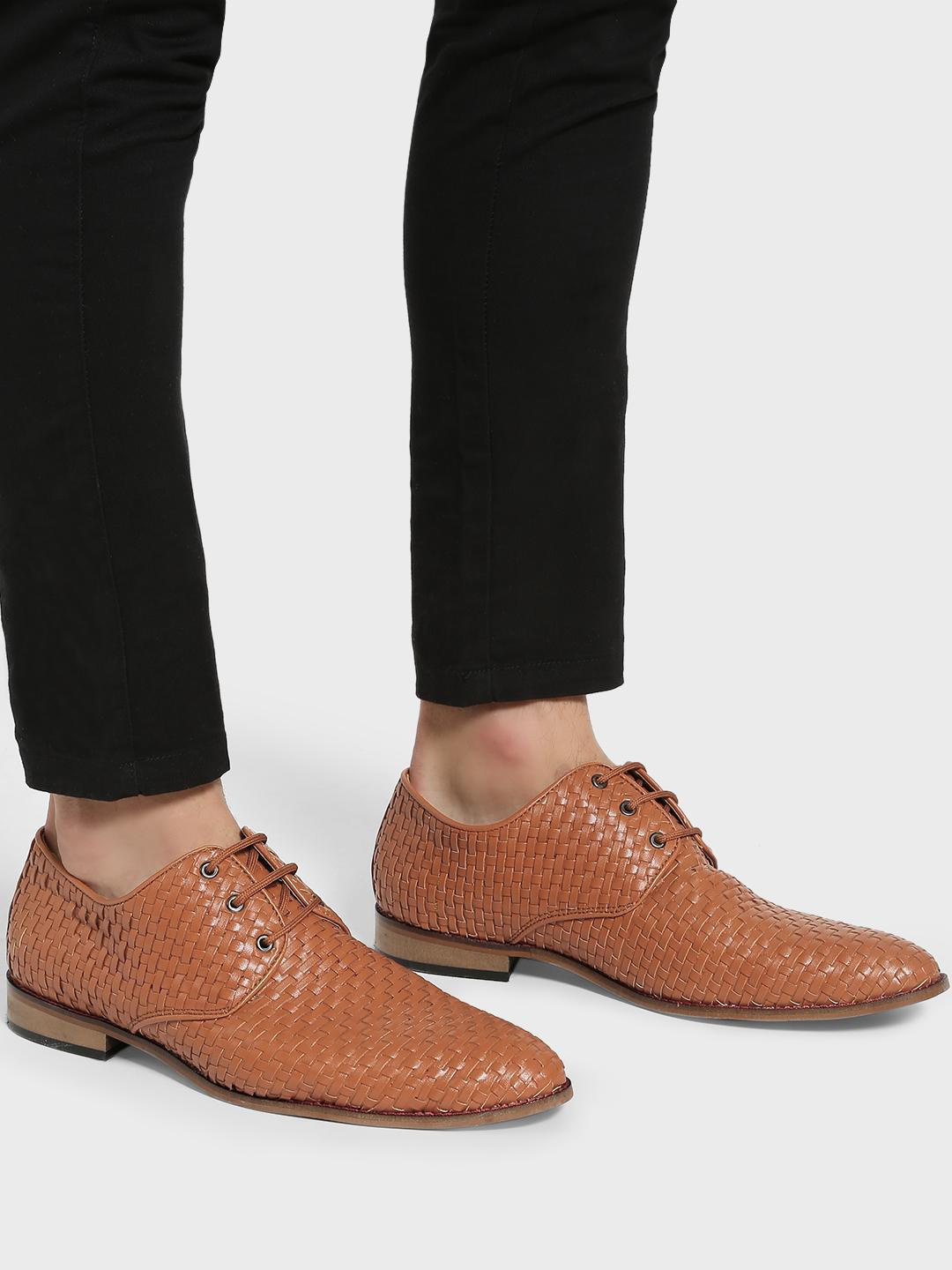 Bolt Of The Good Stuff Tan Basket Weave Derby Shoes 1