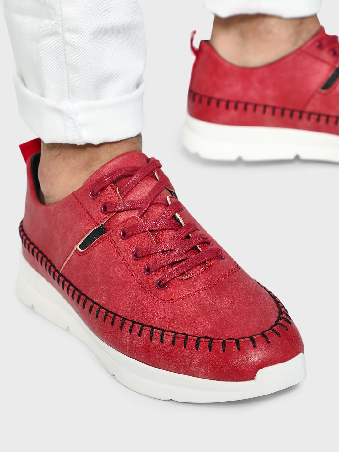 KOOVS Red Contrast Stitching Solid Sneakers 1