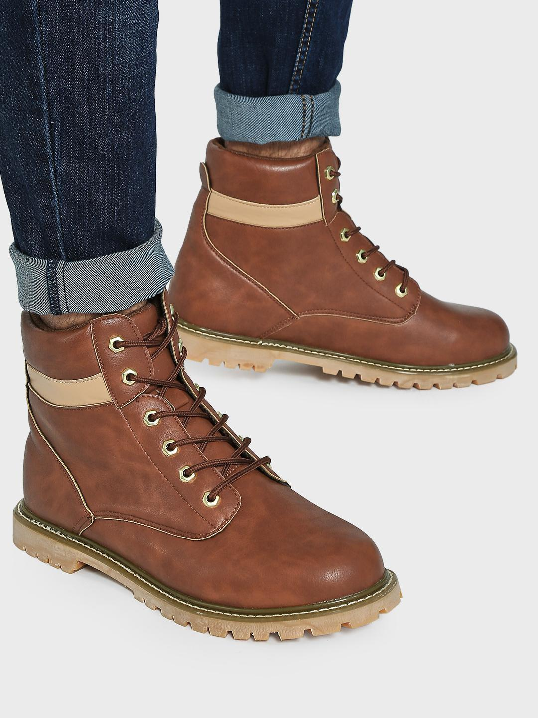 KOOVS Brown Cleated Sole Lace-Up Boots 1