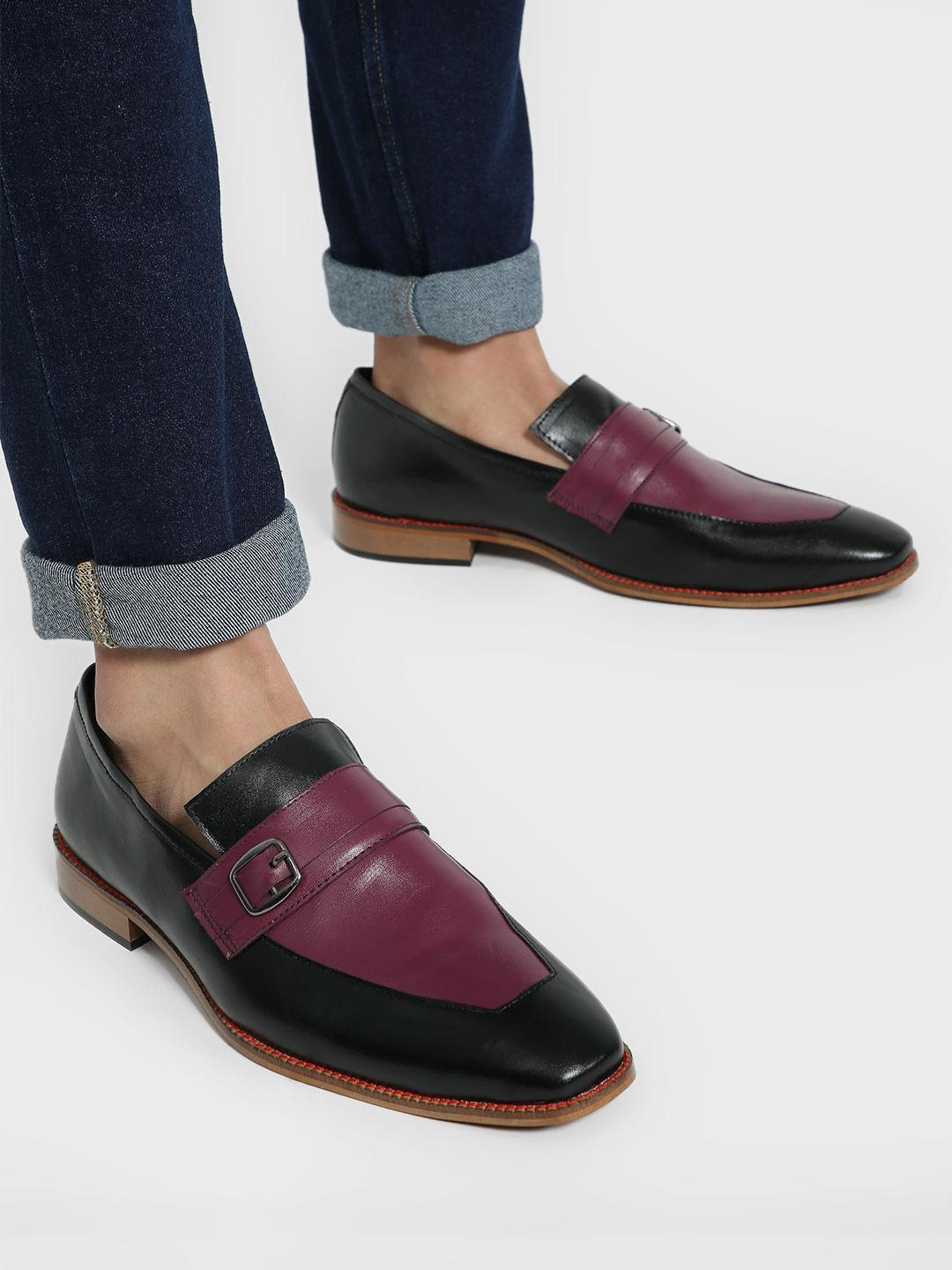 Bolt Of The Good Stuff Multi Contrast Panel Buckle Loafers 1