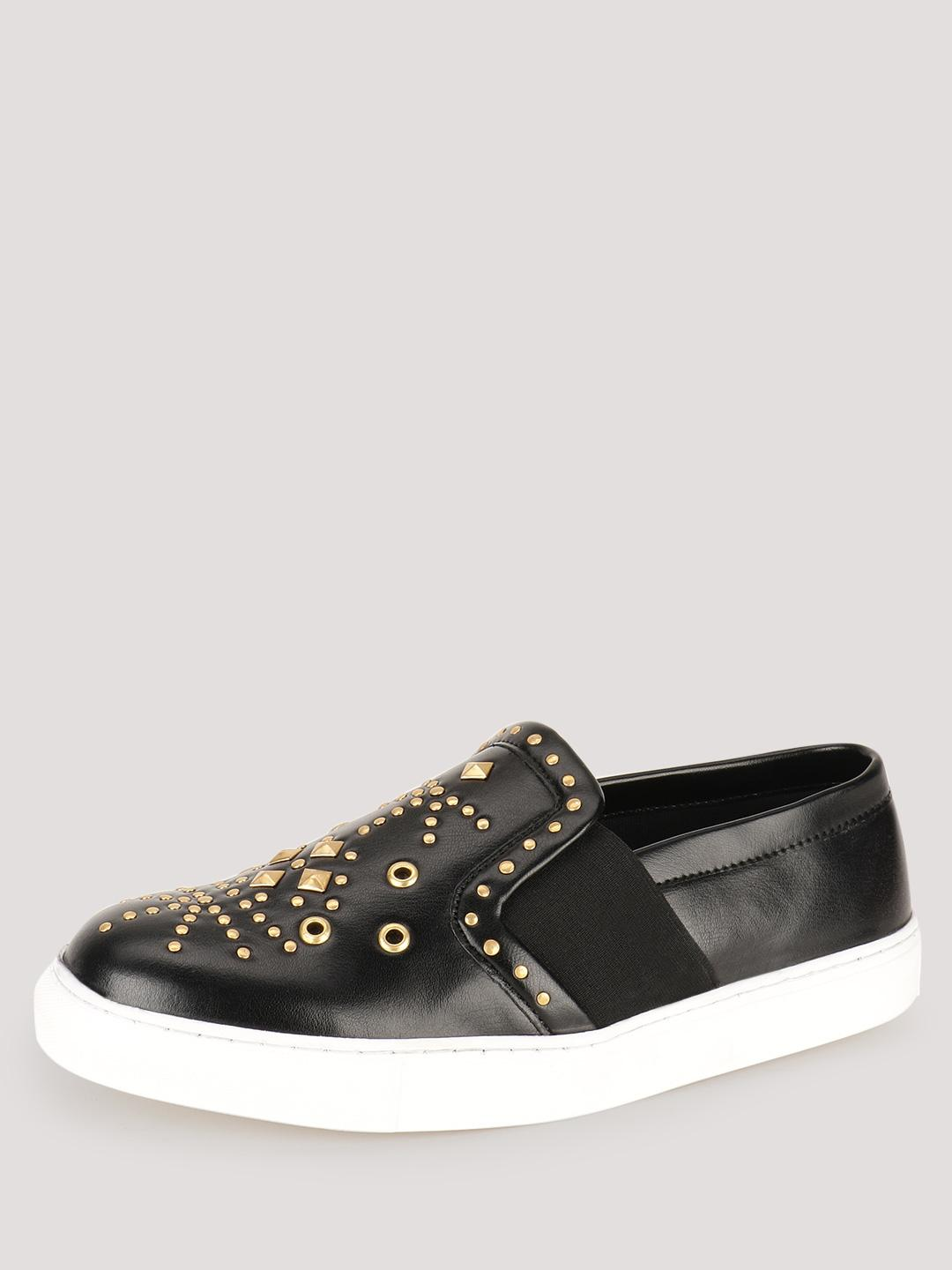 KOOVS Black Stud Detail Slip-On Plimsolls 1