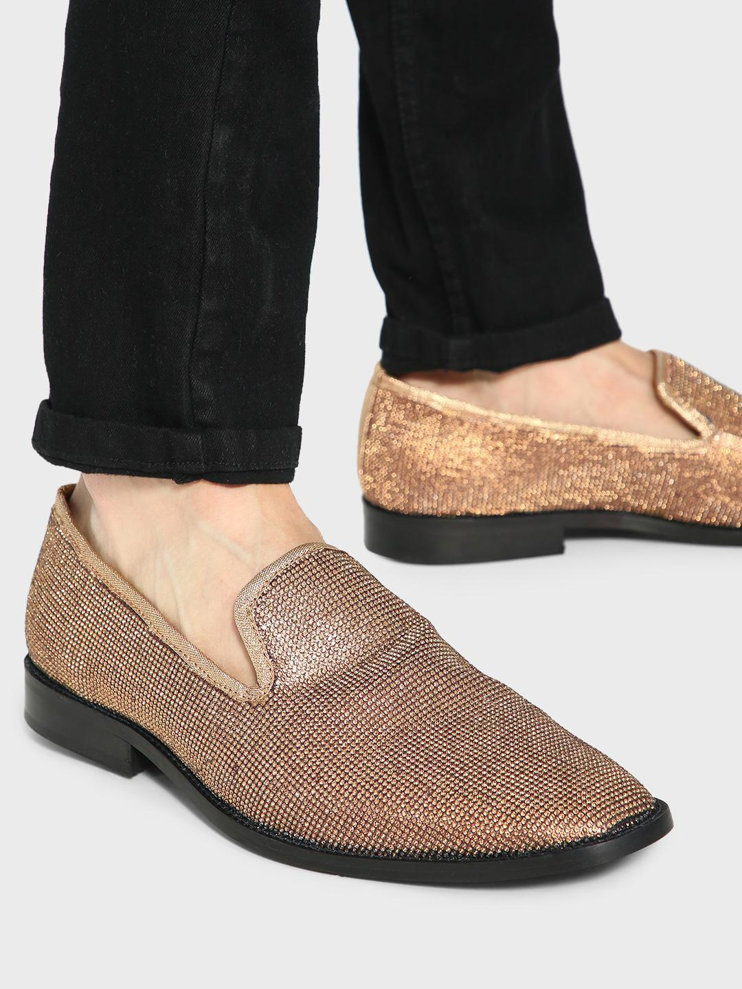 KOOVS Golden All Over Sequin Embellished Loafers 1