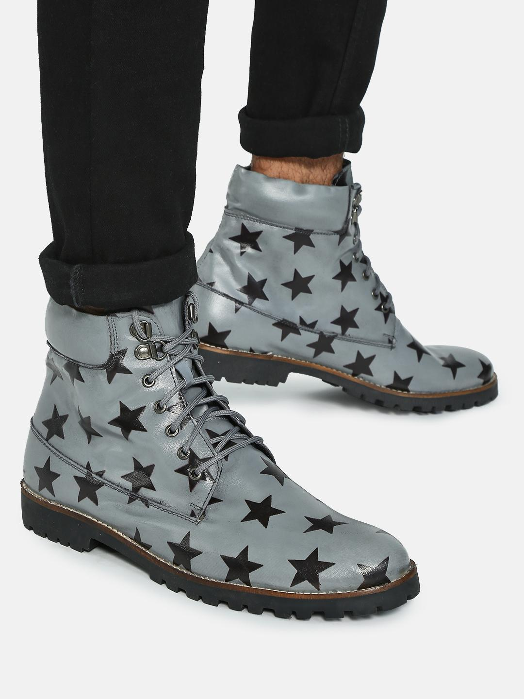 Bolt Of The Good Stuff Grey Star Print Lace-Up Boots 1