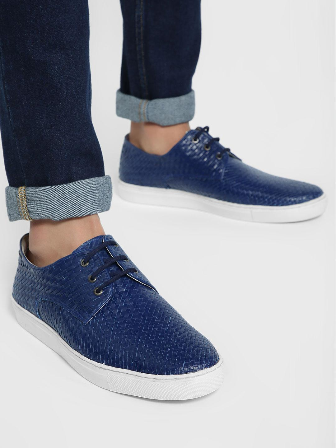 Bolt Of The Good Stuff Blue Handwoven Lace-Up Casual Shoes 1