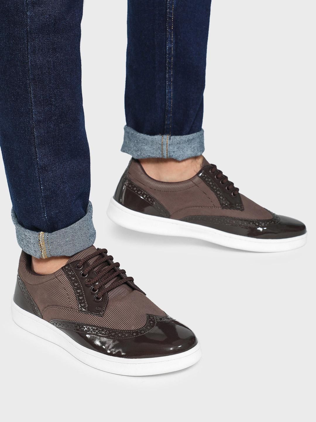 KOOVS Brown Knitted Patent Panel Brogue Shoes 1