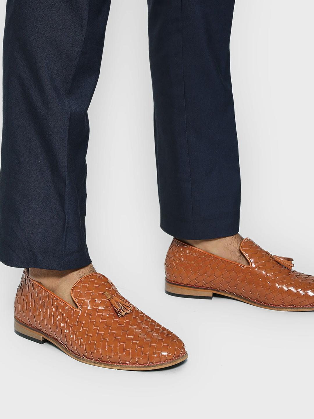 Bolt Of The Good Stuff Brown Handwoven Tassel Loafers 1