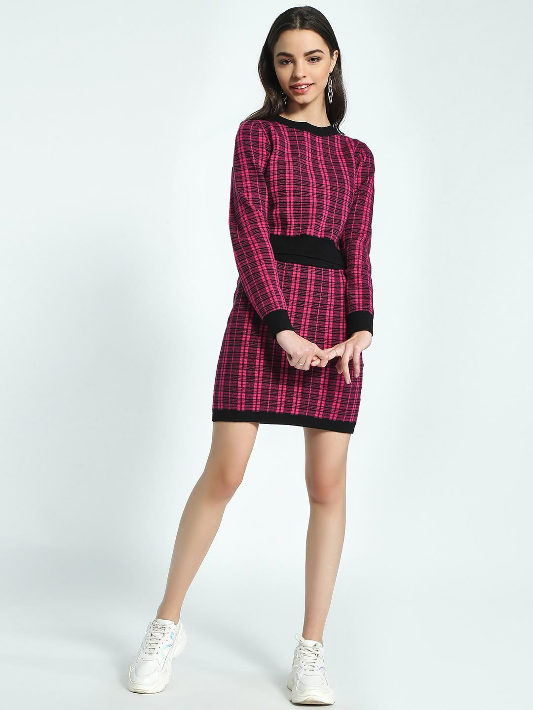 KOOVS Pink Checked Woven Mini Skirt 1