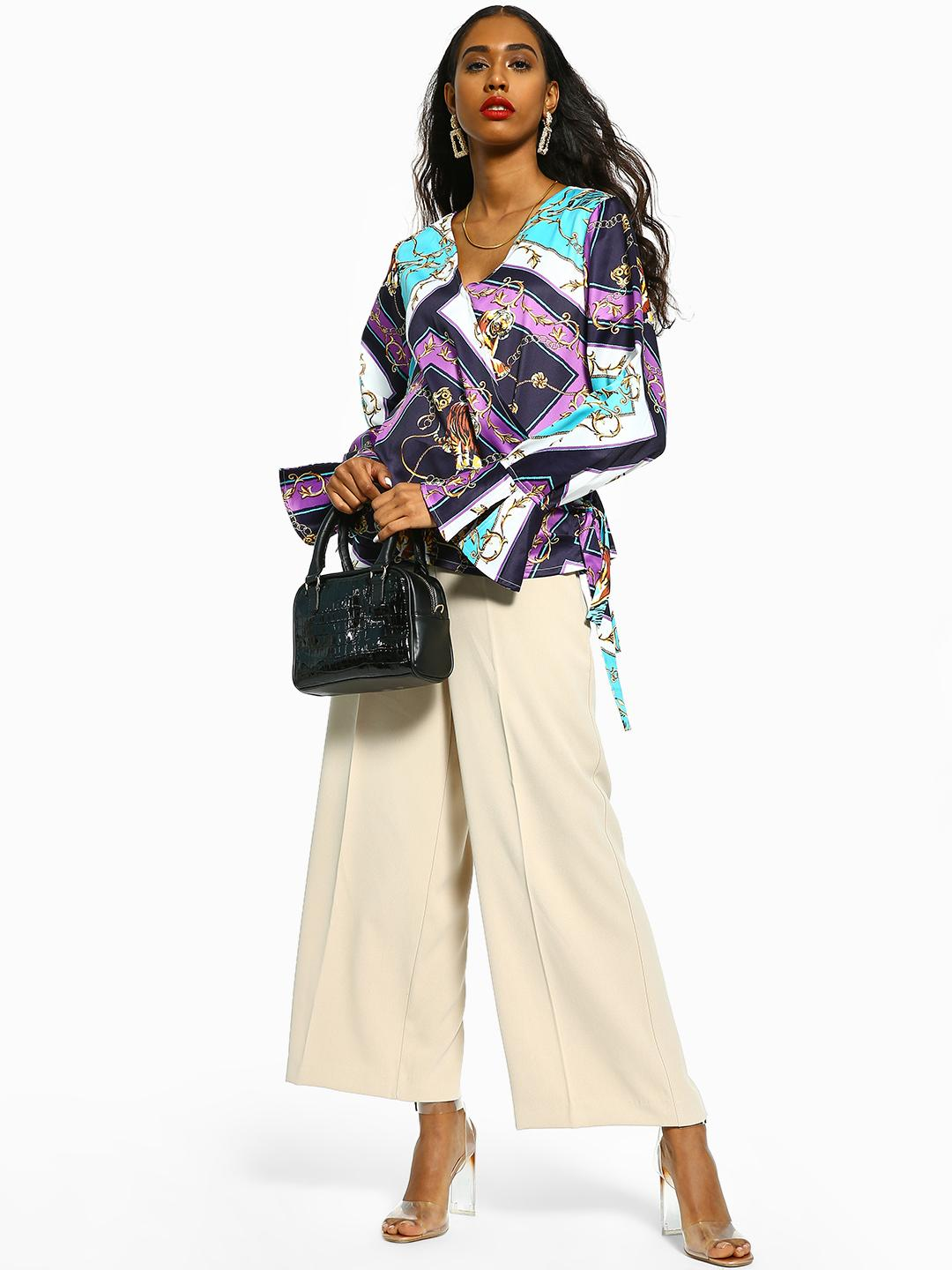 Cover Story Off White Basic Wide Leg Trousers 1