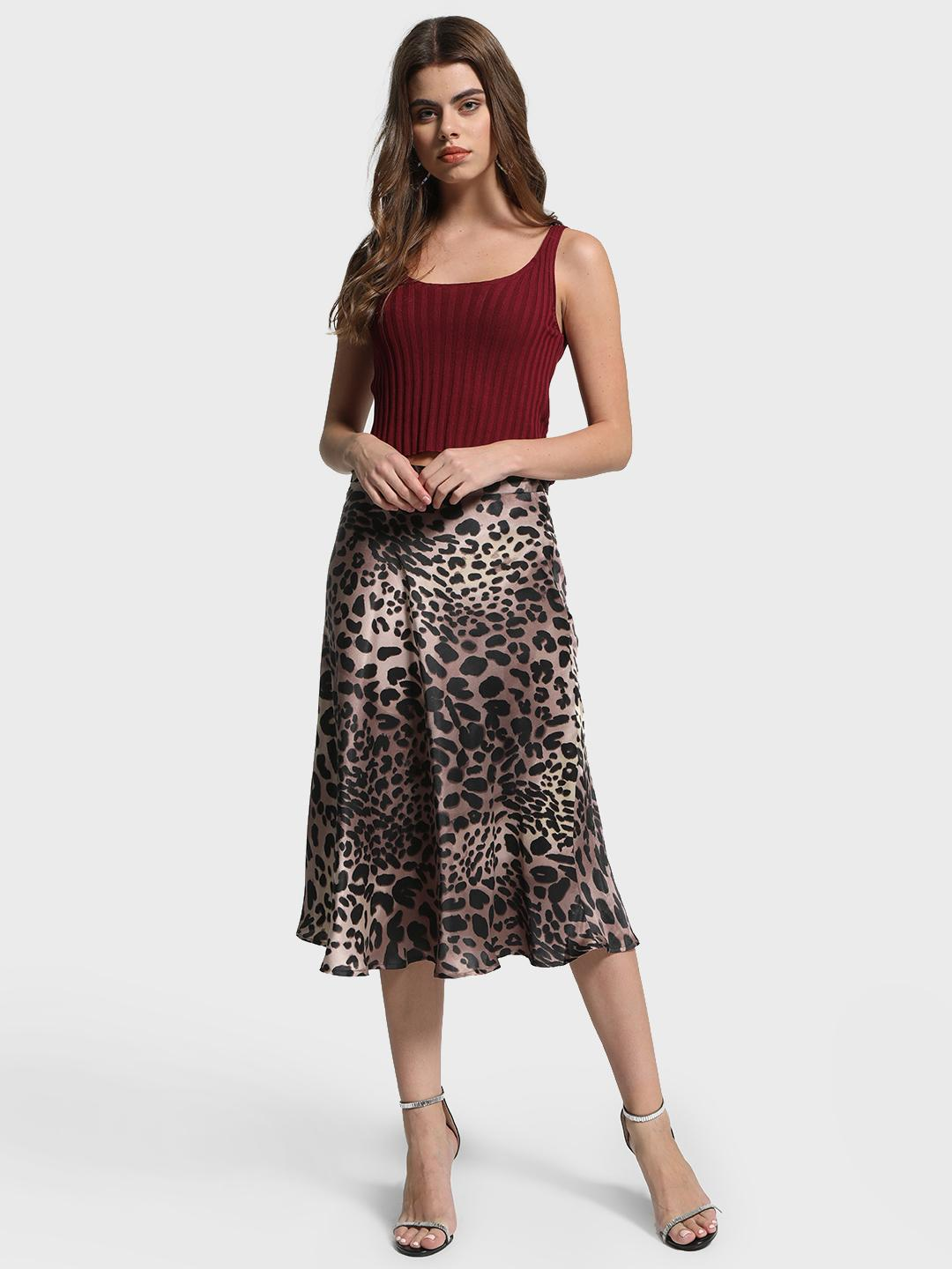 Cover Story Multi Leopard Print Satin Midi Skirt 1