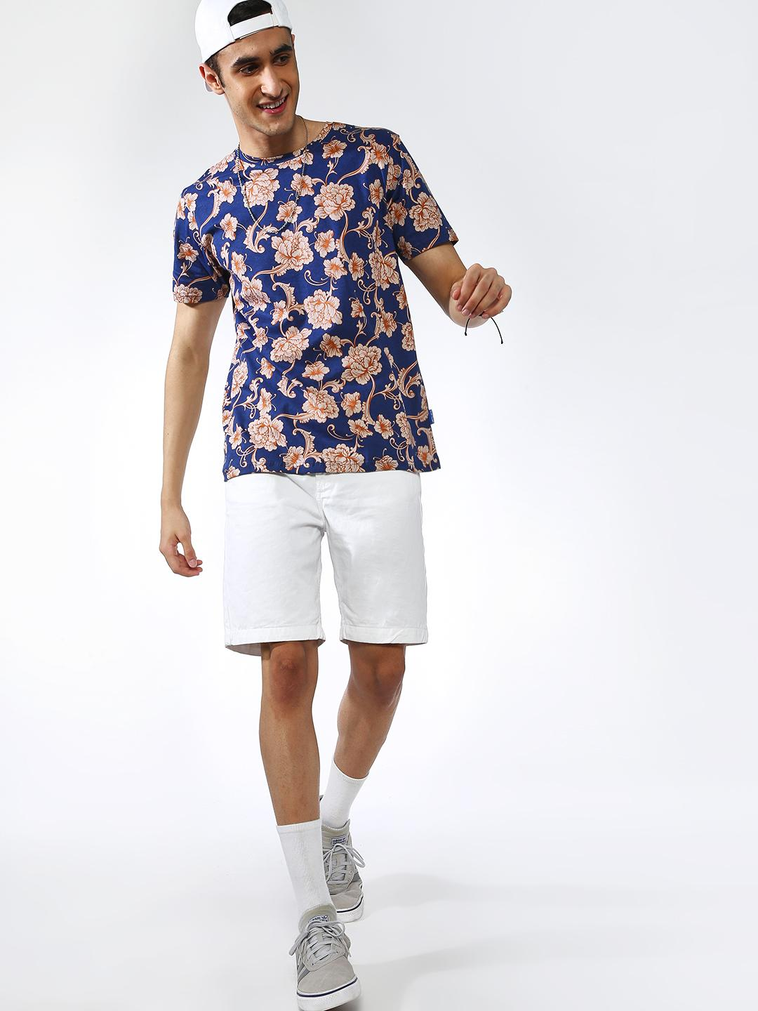 Blue Saint Navy All Over Tropical Print Crew Neck T-shirt 1