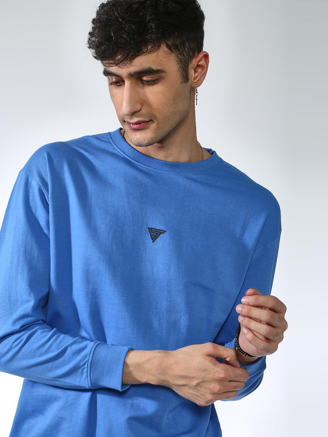 Blue Saint Blue Basic Round Neck Sweatshirt 1