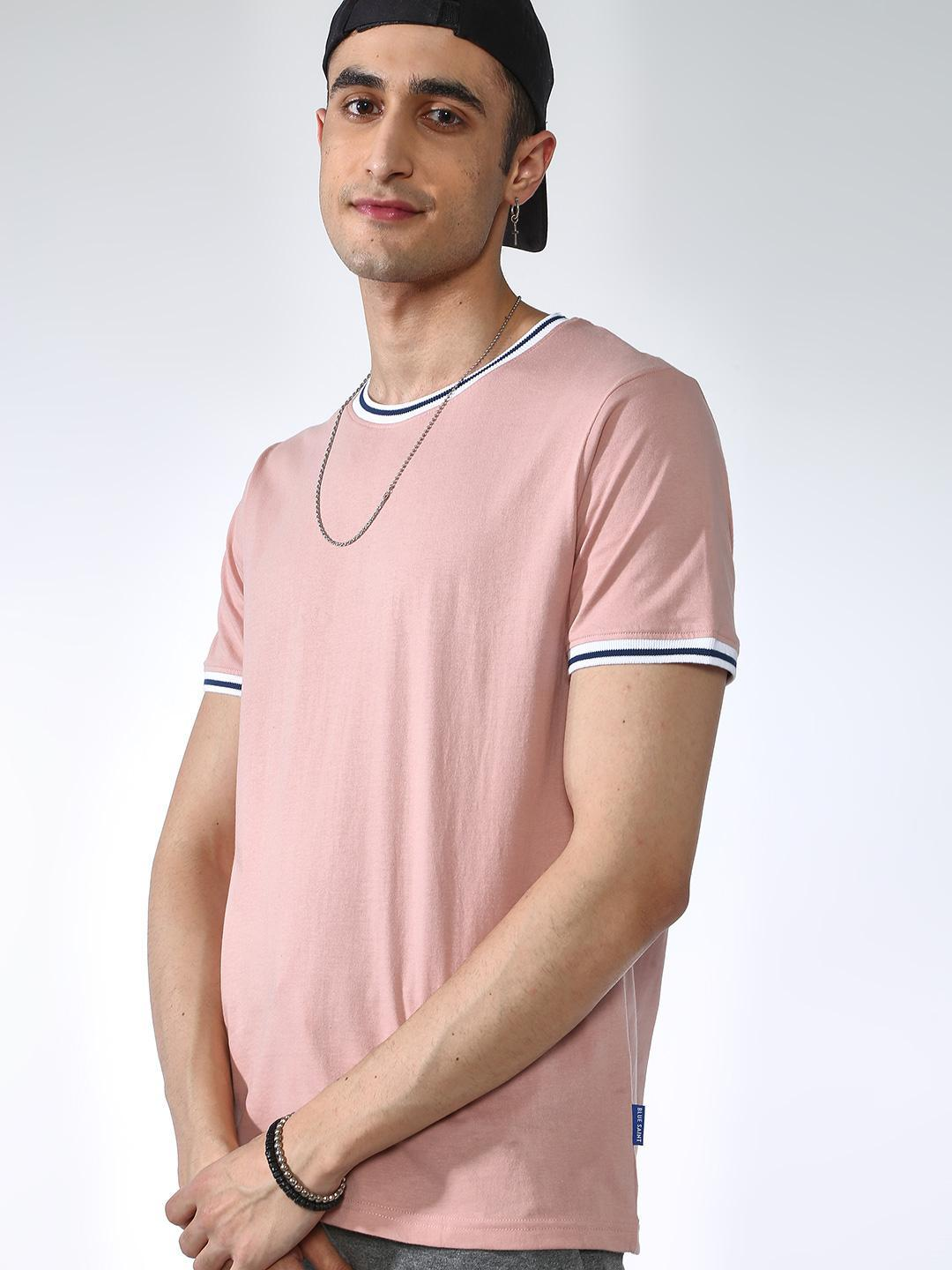 Blue Saint Pink Contrast Piping Crew Neck T-Shirt 1