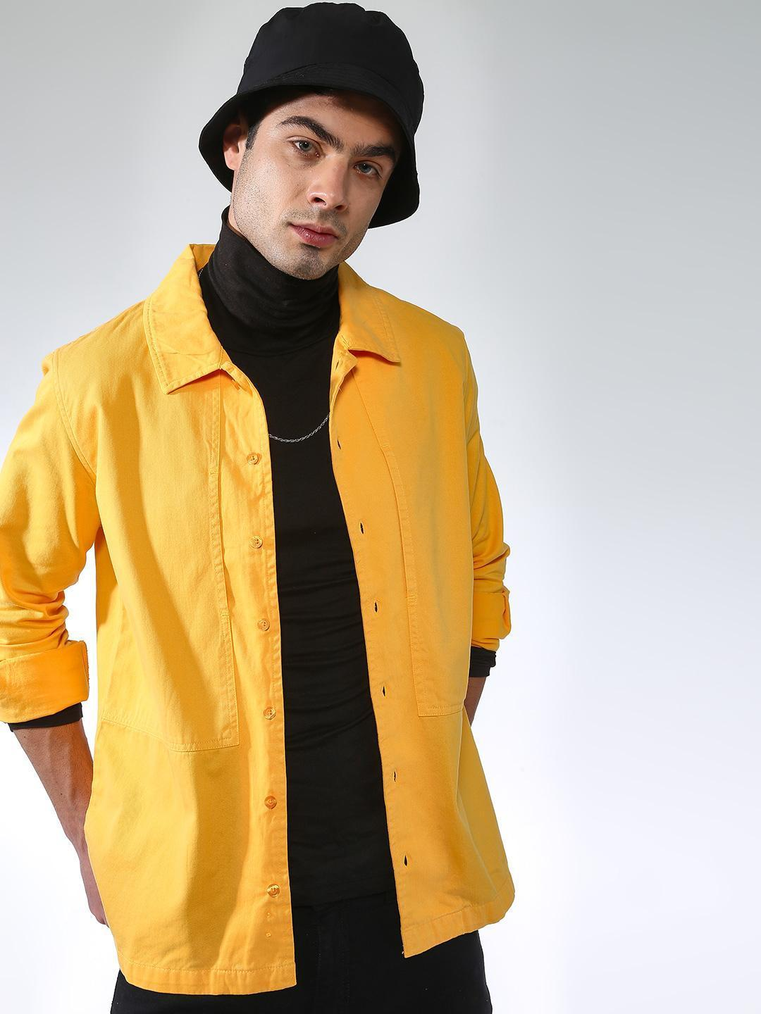 Blue Saint Yellow Button-Down Panelled Shacket 1