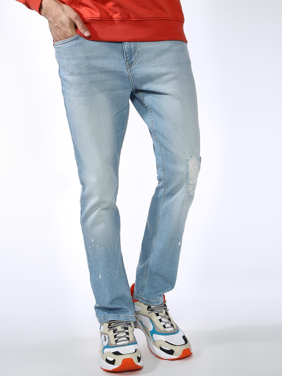 Blue Saint Blue Light Wash Distressed Slim Jeans 1