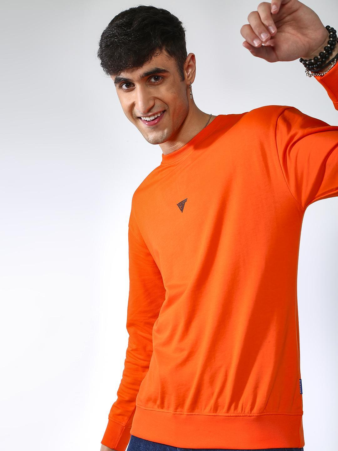 Blue Saint Orange Solid Crew Neck Sweatshirt  1