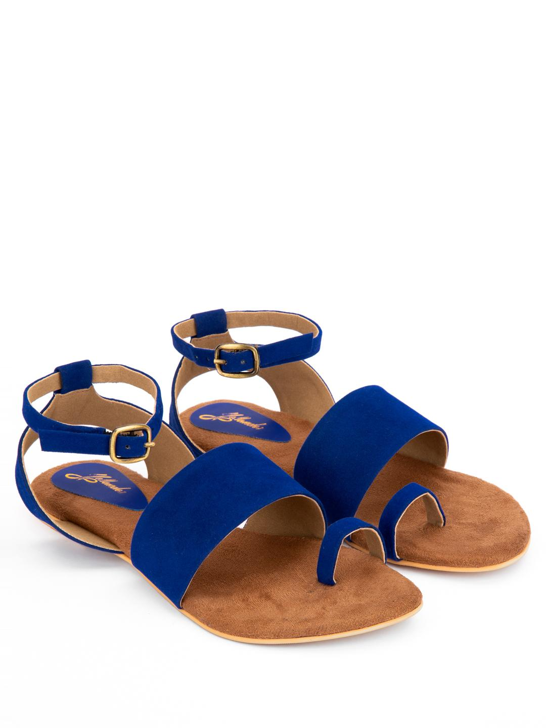 Yellow Soles Blue Suede Strap Flat Sandals 1