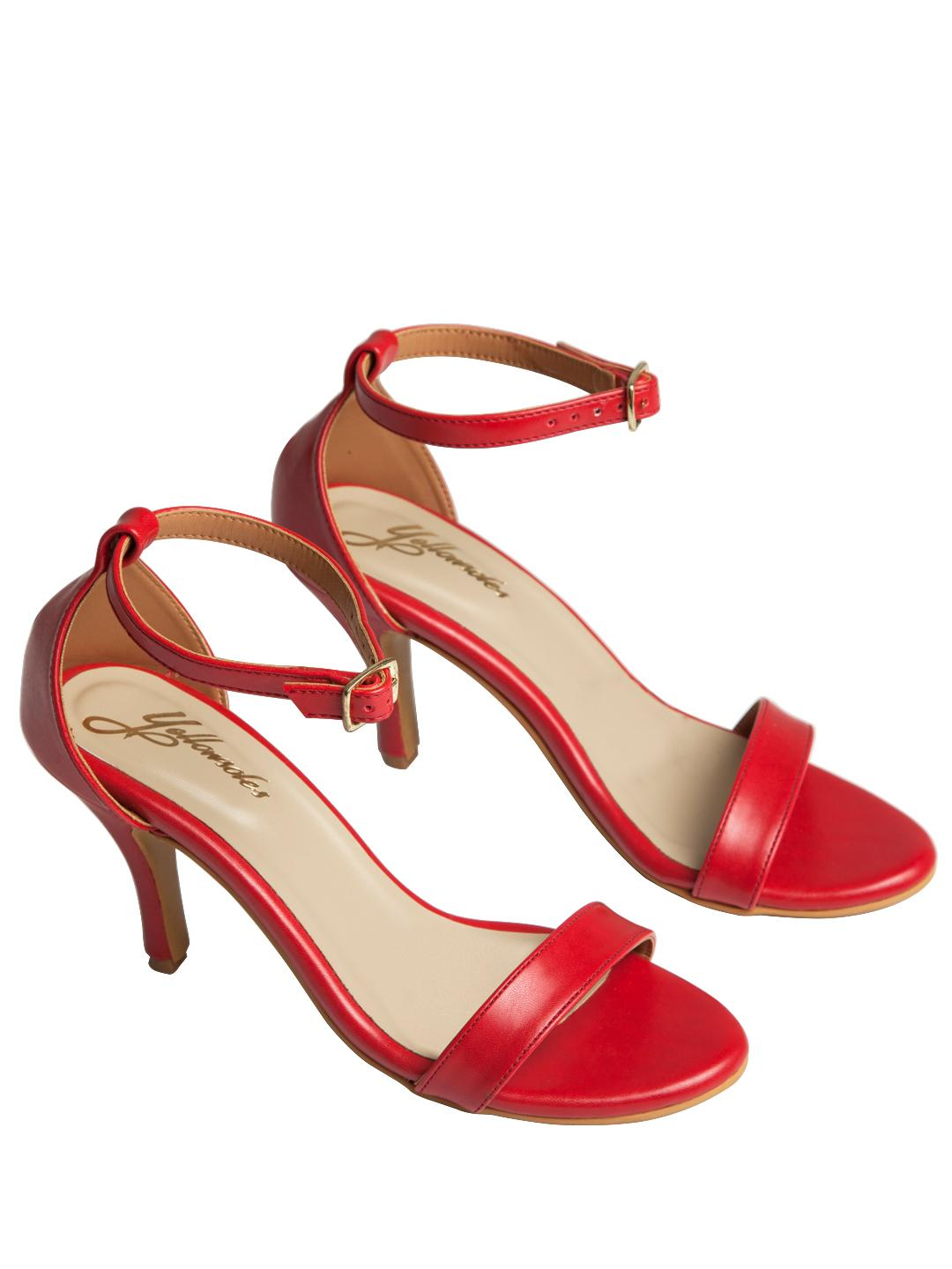 Yellow Soles Red Ankle Strap Heeled Sandals 1