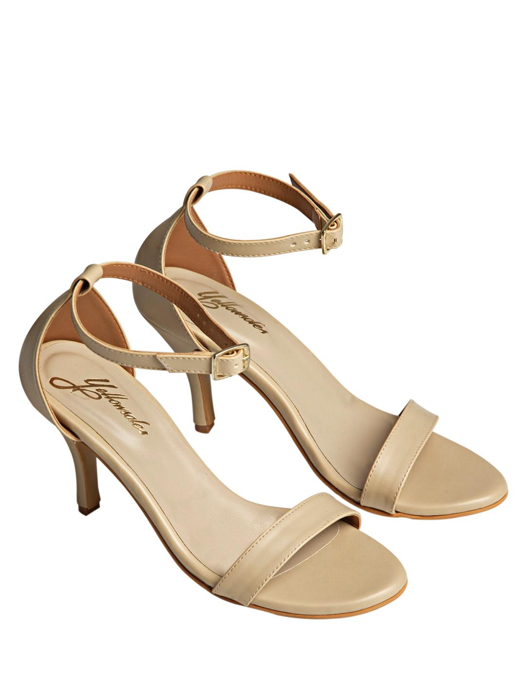Yellow Soles Beige Ankle Strap Heeled Sandals 1