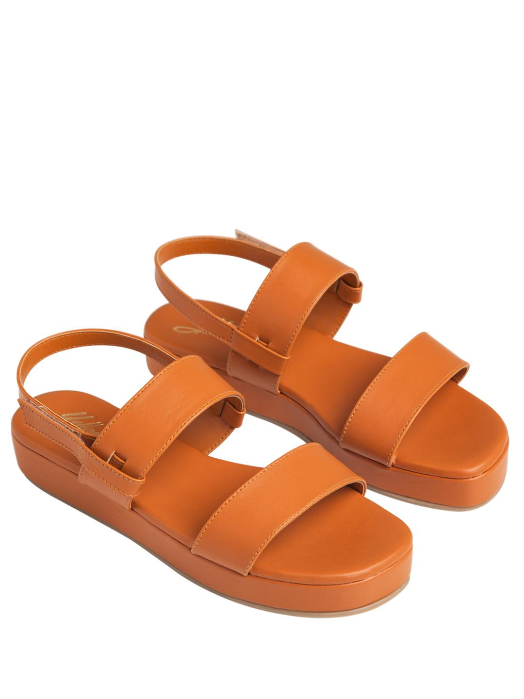 Yellow Soles Brown Double Strap Flatform Sandals 1
