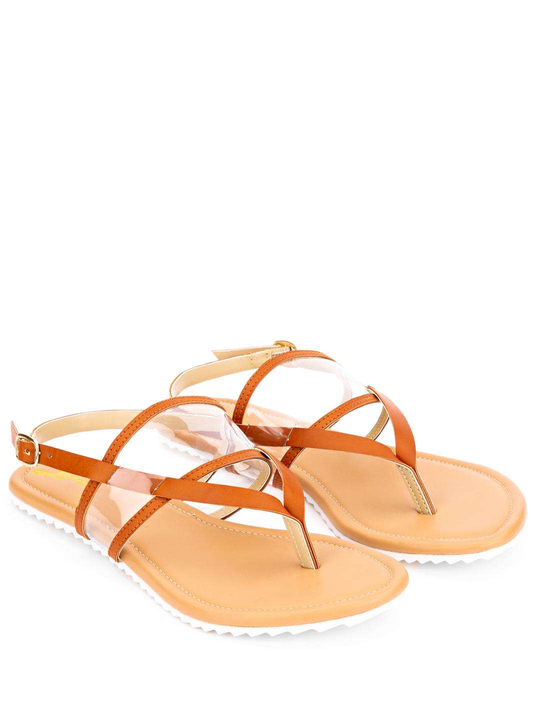 Yellow Soles Brown Clear Strap Flat Sandals 1
