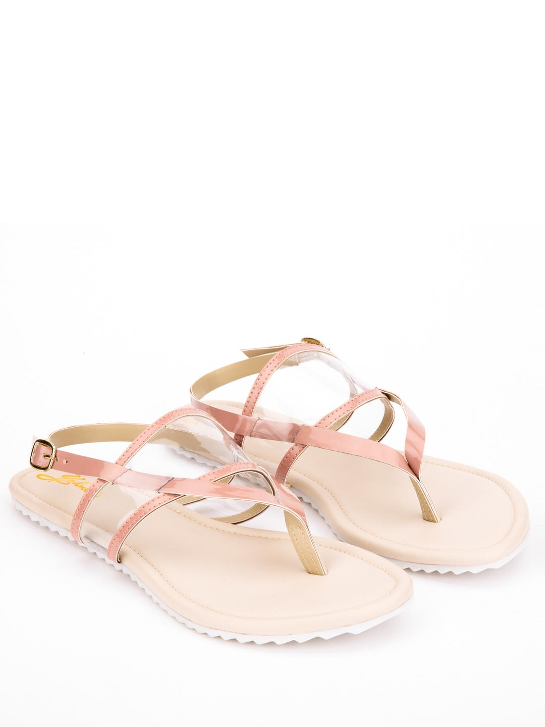Yellow Soles Pink Clear Strap Flat Sandals 1
