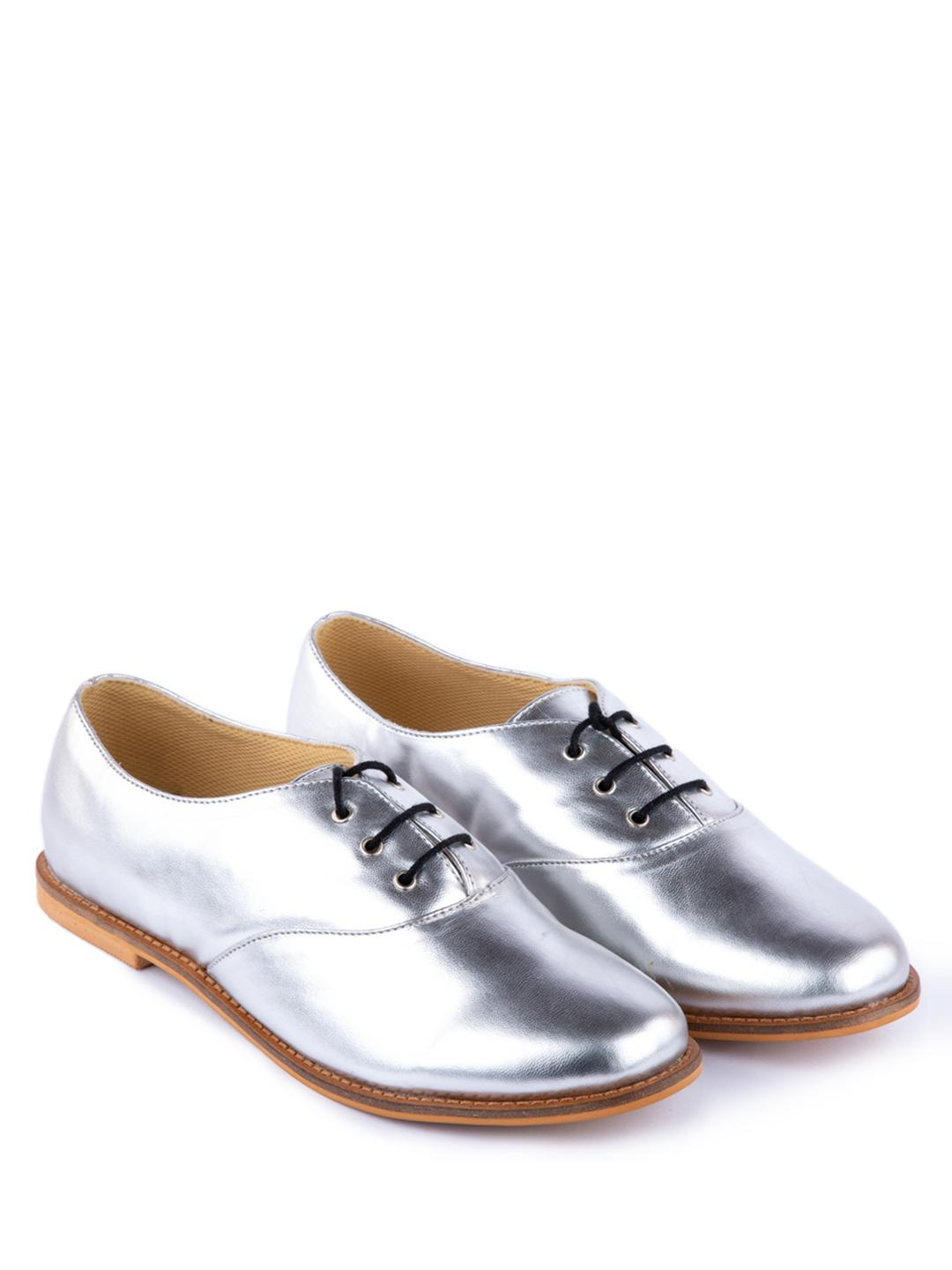 Yellow Soles Silver Lace-Up Oxford Shoes 1
