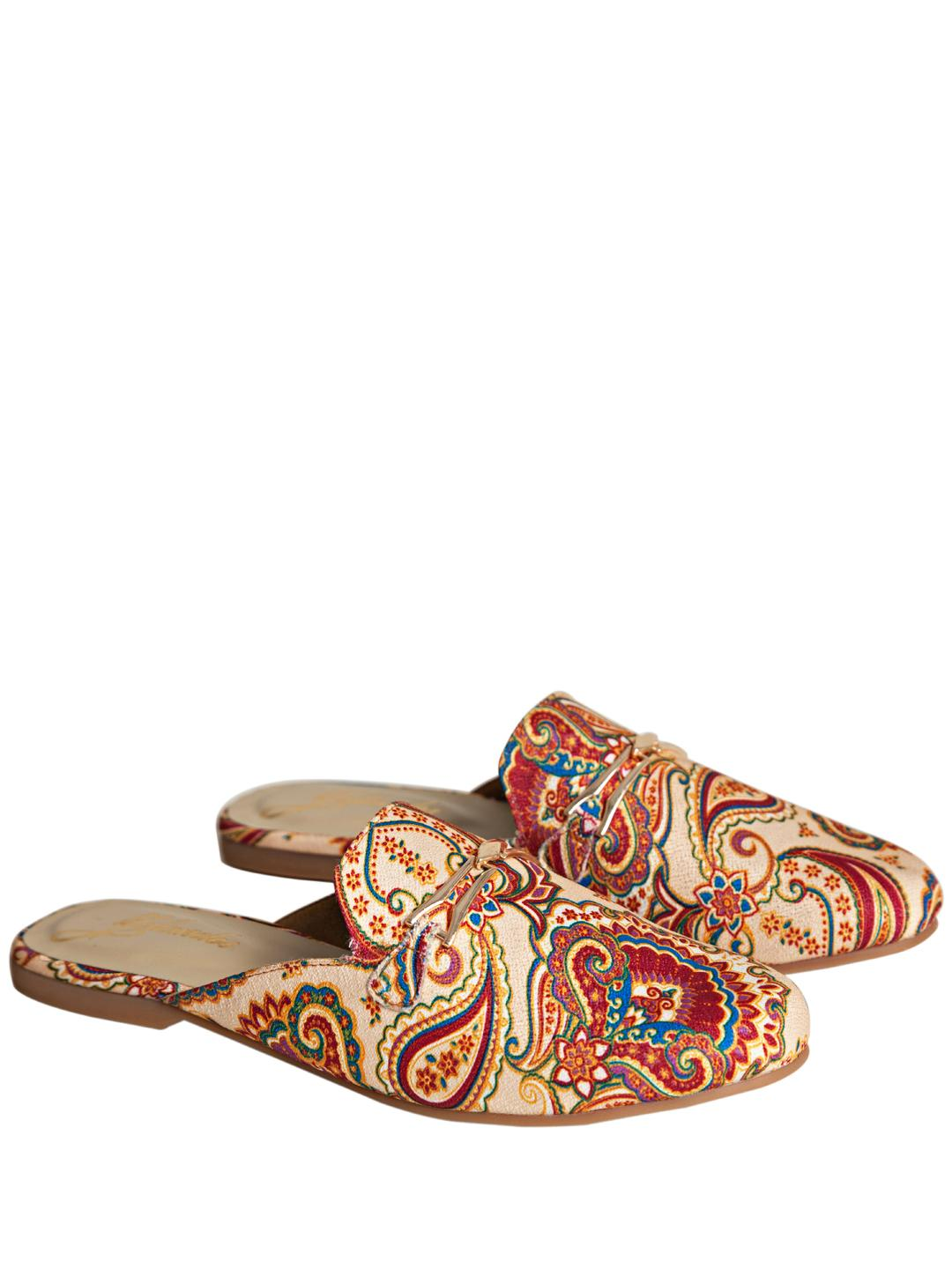 Yellow Soles Beige Paisley Embroidered Horsebit Mules 1