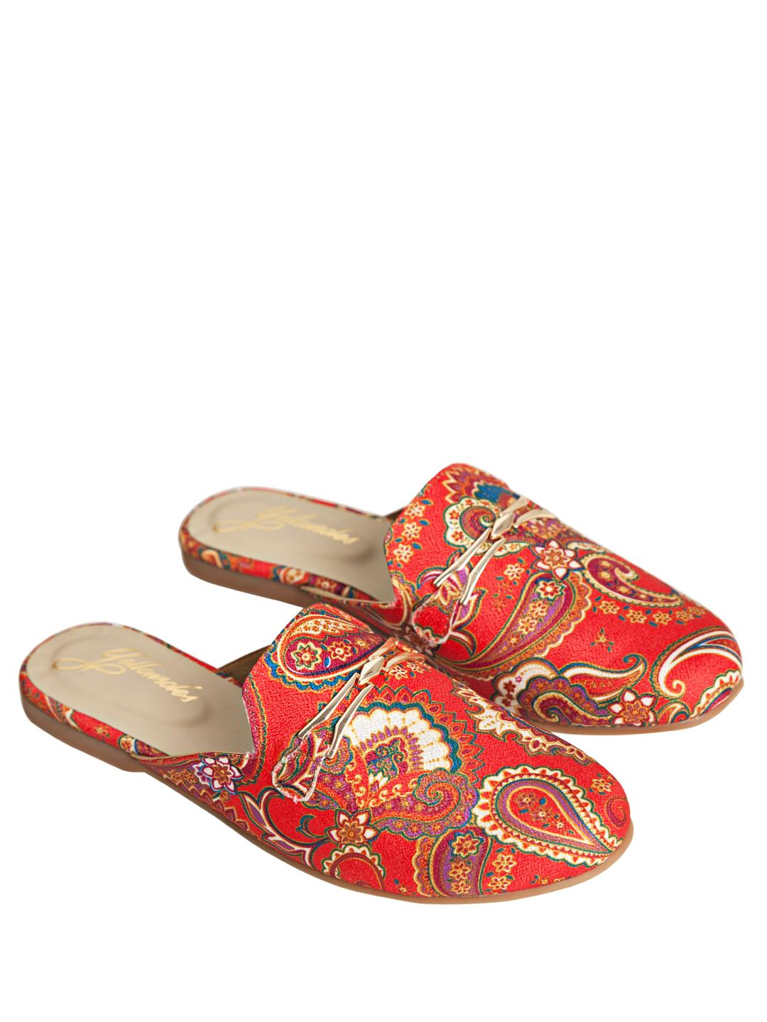 Yellow Soles Red Paisley Embroidered Horsebit Mules 1