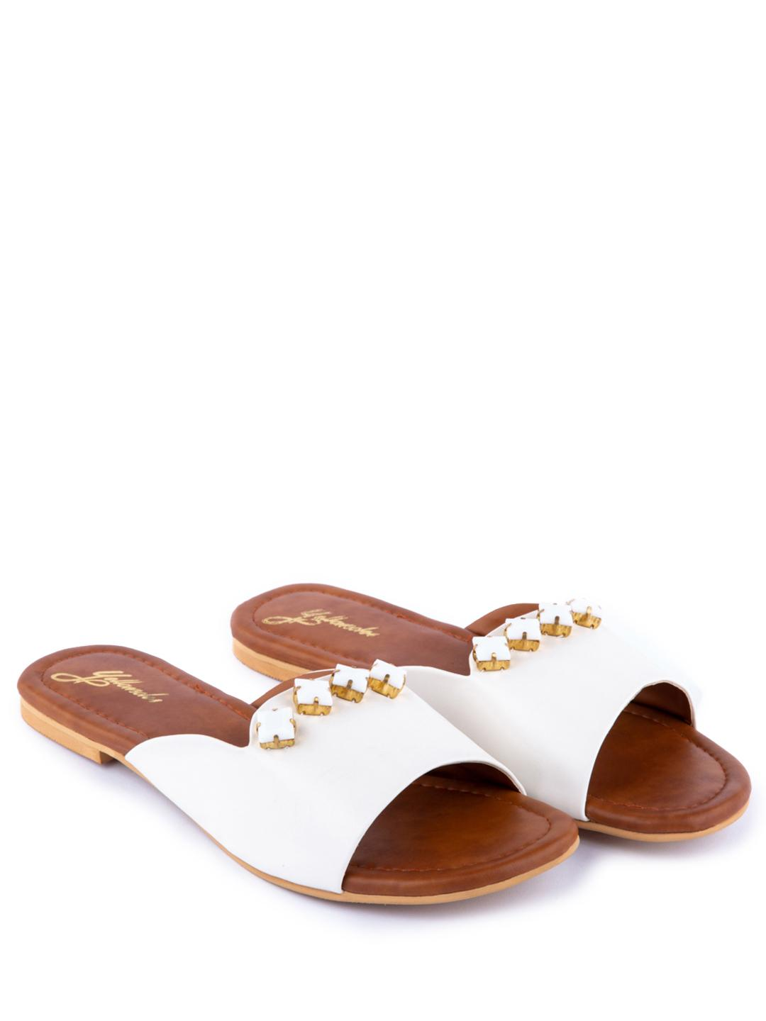 Yellow Soles White Embellished Broad Strap Flat Sandals 1