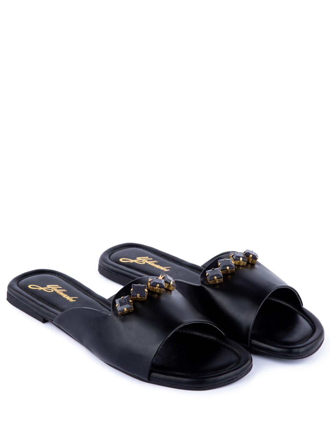 Yellow Soles Black Embellished Broad Strap Flat Sandals 1