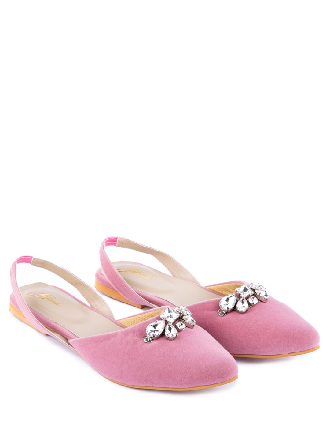 Yellow Soles Pink Diamante Embellished Slingback Mules 1